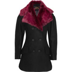 Vivienne Westwood Anglomania Risk faux fur and wool-blend felt peacoat ($493) ❤ liked on Polyvore featuring outerwear, coats, black, pea jacket, double breasted pea coat, faux fur coats, slim fit pea coat and slim fit peacoat