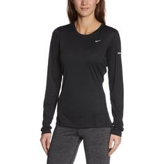 Amazon.com : Nike Women's Miler Long Sleeve Running Top : Athletic... (£22) ❤ liked on Polyvore featuring activewear, nike sportswear, nike activewear, longsleeve shirt, athletic sportswear and long sleeve athletic shirts