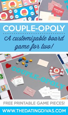 Customizable board game for two. You will LOVE this at home date night idea from The Dating Divas! Board Games For Two, Board Games For Couples, Family Board Games, Couple Games, Valentines Games For Couples, Group Games, Dating Divas, Couples Game Night, Night Couple