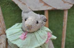 "5"" white Steiff teddy bear Rare button antique hand sewn dress by bebesandbruins on Etsy"