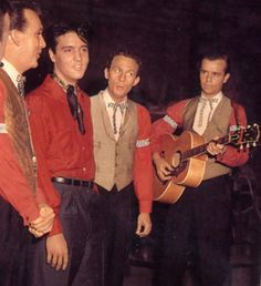 Elvis and the Jordanaires - Warming up off screen The' King Creole' movie set Hollywood, January 1958. They were his backup singers on tour, albums, movies in the 50's.