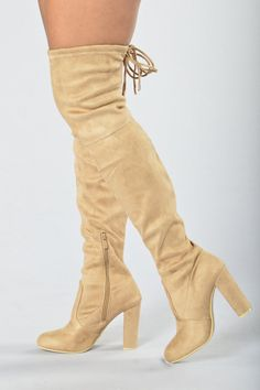 - Available in Beige and Black - Thigh High - Chunky Heel - Memory Foam Insole - Tie Detail - Side Zipper Closure - 4 Inch Heel