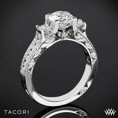 A dazzling disco of diamonds. Tacori Classic Crescent Pave Three Stone Engagement Ring