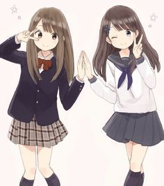 Kawaii Create associated with a list of manga you've seen and see new Anime School Girl, Anime Girl Cute, Beautiful Anime Girl, Anime Art Girl, Anime Girls, Anime Siblings, Anime Sisters, Friend Anime, Anime Best Friends