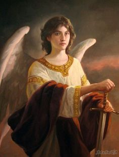 "Archangel Uriel, Meaning ~""God is Light"", ""God's Light"", Fire of God"" ~Uriel is considered one of the wisest Archangels because of His intellectual information, practical solutions and creative insight, but He is very subtle. You may not even realize He has answered your prayer until you've suddenly come up with a brilliant new idea~ His Element Is Earth. Face North And Visualise Him in Browns, Olive Green And Citrine When You Call Him By His Sacred Name~ Artist: Andrey Shishkin"
