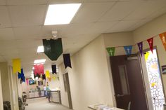 Ceiling pennants- easy cut pieces of felt or construction paper... strung along string on the ceiling... good for classroom #2