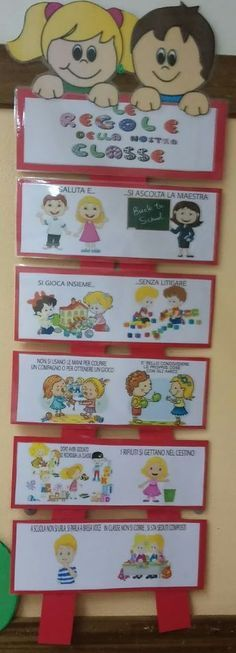 "ACCOGLIENZA IL CARTELLONE DELLE REGOLE Ringrazio gli amici di ""Lavoretti Creativi"" che hanno pubbicato su fb questo modello per realizza... Beginning Of School, Sunday School, Activities For Kids, Crafts For Kids, Welcome To School, Tips & Tricks, Learning Italian, School Decorations, Classroom Decor"