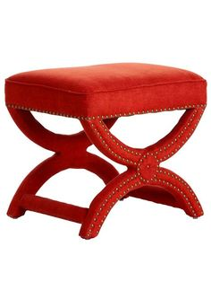Benches & Stools, Designer Red Coral Linen Dressing Table Stool, one of over 3,000 limited production interior design inspirations inc, furniture, lighting, mirrors, tabletop accents and gift ideas to enjoy repin and share at InStyle Decor Beverly Hills Hollywood Luxury Home Decor enjoy & happy pinning
