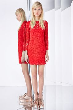 dkny resort 2015 - red lace and metallic brogues
