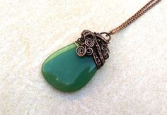 Jade+necklace+Jade+wire+copper+necklace+Wire+wrapped+necklace