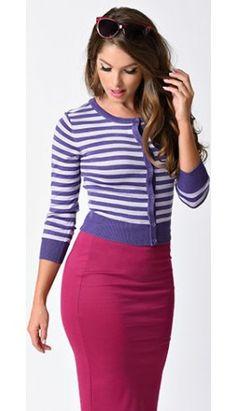 Blueberry Purple & Lilac Striped Sleeved Button Up Cardigan Chester Cat from Alice in Wonderland
