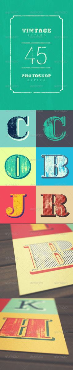 Vintage Styles  #GraphicRiver        Vintage Styles Vintage Styles is a Photoshop Styles Set for styling custom lettering or type. It includes 45 styles. With a single click you can easily apply these effects to type, vector or raster shapes.  Latest Update: 20 jan 2014 Files Included   1 PSD File  1 ASL File  1 PDF – Documentation