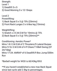 Todays programming at @cspgym. A lower body volume day and aerobic power conditioning piece. Within our programming structure we have various levels depending on experience/neuromuscular efficiency as well as personal preference between the powerlifting or weightlifting qualities for those more experienced. For the conditioning the E.M.O.M work pairs a barbell movement with a gymnastics/kettlebell movement. The first 16 mins serve as an almost warmup as the client begins to breathe and pace…