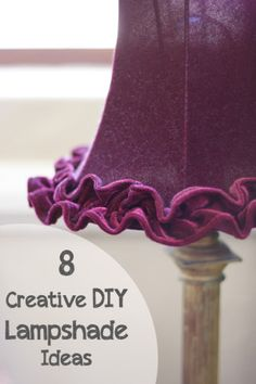 8 Creative DIY Lampshade Ideas PIN - that ruffle on the bottom would be great with what I figured out about wired ribbon gathering. Purple Lamp, Purple Velvet, All Things Purple, Purple Stuff, Purple Reign, Shades Of Purple, Deep Purple, Magenta, Do It Yourself Home