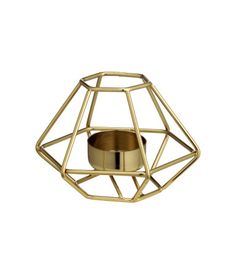 Gold-colored. Metal tea light holder. Height approx. 3 1/4 in., width  5 in.