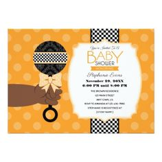 Rattle afrocentric baby shower invitation pinterest orange rattle afrocentric baby shower invite invitations personalize custom special event invitation idea style party filmwisefo