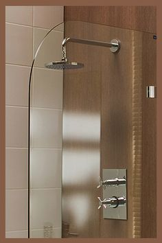 Shower idea.  Small shower, small glass wall.