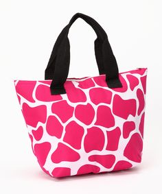 Loving this Pink Giraffe Insulated Lunch Tote on #zulily! #zulilyfinds