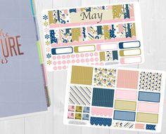 Puede mensual Sticker Set - planificador mensual ver pegatinas, Erin Condren Vertical Horizontal y cada hora los planificadores, feliz, etiquetas engomadas del planificador