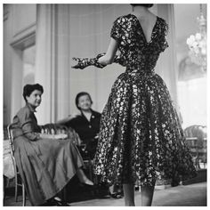 House of Dior-Model in Metallic Dress-Back, 1953