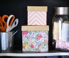Add color and organization to your workspace with these DIY storage boxes. Not only are they decorative, they're also a great way to maximize the space you have if you're working in a smaller area. Click in for the full tutorial.