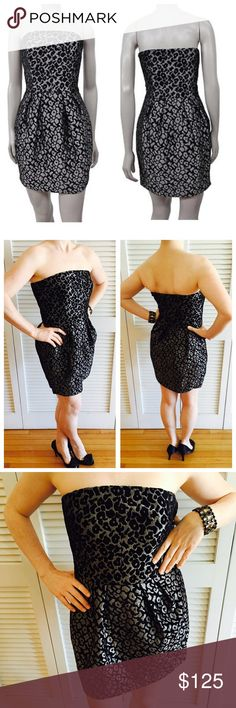Rachel Roy Leopard Print Dress Textured black and silver cocktail dress. Worn once. In great shape! Side zip. Hidden pockets on each side under pleated fabric! Structured bust for extra support. 78% rayon and 12% polyester. RACHEL Rachel Roy Dresses Strapless