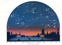 Antique astronomy print showing The Stars for March, looking North and South, from Westminster Bridge, London. Printed in 1931  https://img1.etsystatic.com/034/0/8164940/il_fullxfull.582851059_j13l.jpg