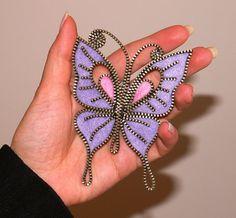 Purple Butterfly designer zipper and felt handmade by 3latna