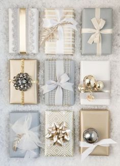 Blue, white, and gold packages... Beautiful gift wrapping ideas for Winter and…