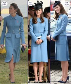 whatkatewore: Duchess of Cambridge in bespoke Alexander McQueen cornflower blue coat worn at the Blenheim War Memorial, New Zealand, April 2014; D-Day 70th Anniversary events in Normandy, June 2014; and 75th Anniversary of the Air Cadets, London, February 2016