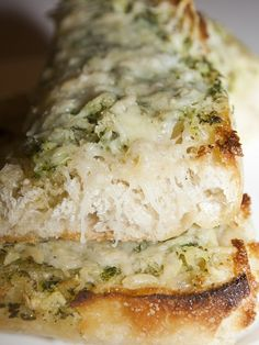 Pulling pesto from the freezer and beating it into butter would have this to the table in no time!            Basil Butter Garlic Bread