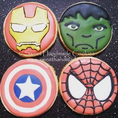 Superhero cookies! #sweethandmadecookies #customcookies #decoratedcookies #designercookies #cookies #bradfordontariocookies #superhero #ironmancookies #hulkcookies #captainamericacookies #spidermancookies