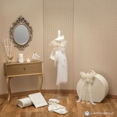 Σετ Βάπτισης Ιβουάρ Πεταλούδες Christening, Vanity, Vanity Area, Lowboy, Dressing Tables, Single Vanities, Vanity Bench, Wash Stand, Powder Room Vanity
