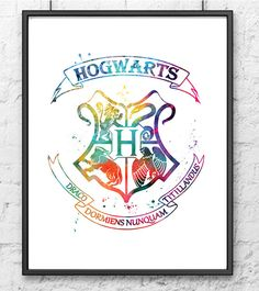 Hogwarts Crest 2 Print Harry Potter Watercolor Art Print Nursery Art Home Decor Nursery Kids wall art.  This prints are reproductions of my