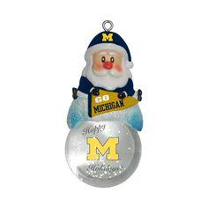 Michigan Wolverines Ornament - Santa Snow Globe