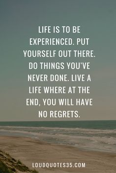 Life is to be experienced. Put yourself out there. Do things you've never done. Live a life where at the end, you will have no regrets.