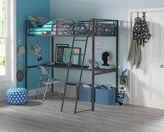 Argos Home Metal High Sleeper Bed Frame & Desk - Black High Sleeper With Desk, High Sleeper Bed, Kids Bedside Table, Thomas Bedroom, Kids Bedroom Furniture, Bedroom Ideas, Kids Bedding Sets, Black Desk, Black Bedding