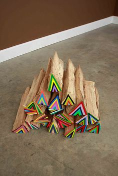 neon lumberjack / triangles / could be cut down and made into a wall collage for a kids space