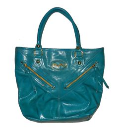 Womens Purse Handbag Baby Phat Extra Large Turquoise Blue Gold Tote Faux Leather #teamsellit #handbags