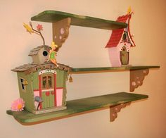 Whimsical Bookshelves found in a Child's Room redecorated to be a fairy room.