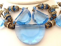 "Vintage Blue Crystal Set Necklace Earrings 16"" Long Half Moon Glass Rondelle"