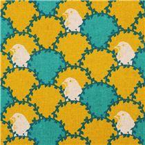 yellow echino arc canvas laminate fabric bird wave fish scale