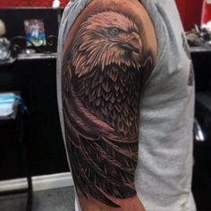 Half Sleeve Patriotic Bald Eagle Guys Tattoo