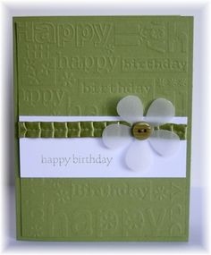 Green embossed birthday card w/ velum flower