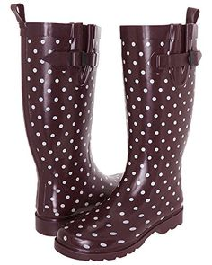 Capelli New York Chevron Dots Tall Rubber Womens Rain Boot Black ...