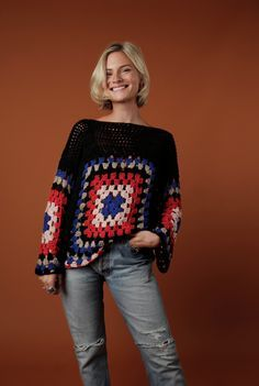 Pandora Sykes rocking the Wool and the Gang Dot Cot Sweater, new piece of the crochet collection using the Granny Square technique.