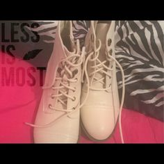"""Selling this """"Cream Short Combat Boots"""" in my Poshmark closet! My username is: srose34. #shopmycloset #poshmark #fashion #shopping #style #forsale #Charlotte Russe #Boots"""