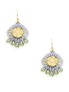 Miguel Ases  Yellow Jade Drop Earrings: I've always wondered what to do with these carved flower beads.