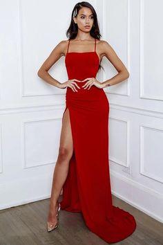 Simple Sheath Halter Red Long Prom/Evening Dress Split Front Source by storenvy prom dresses Orange Prom Dresses, Prom Outfits, Backless Prom Dresses, A Line Prom Dresses, Grad Dresses, Ball Dresses, Green Bridesmaid Dresses, Evening Dresses, Dresses Dresses