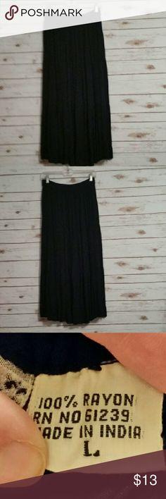 "Bonjour size Large black elastic waist skirt Bonjour size Large black elastic waist skirt.  Approximate measurements - Flat Lay  -Waist 28""  Length 35""  EUC Bonjour Skirts A-Line or Full"